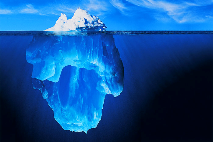 An iceberg representing the sum of the trader's skills. Few are understood or seen.